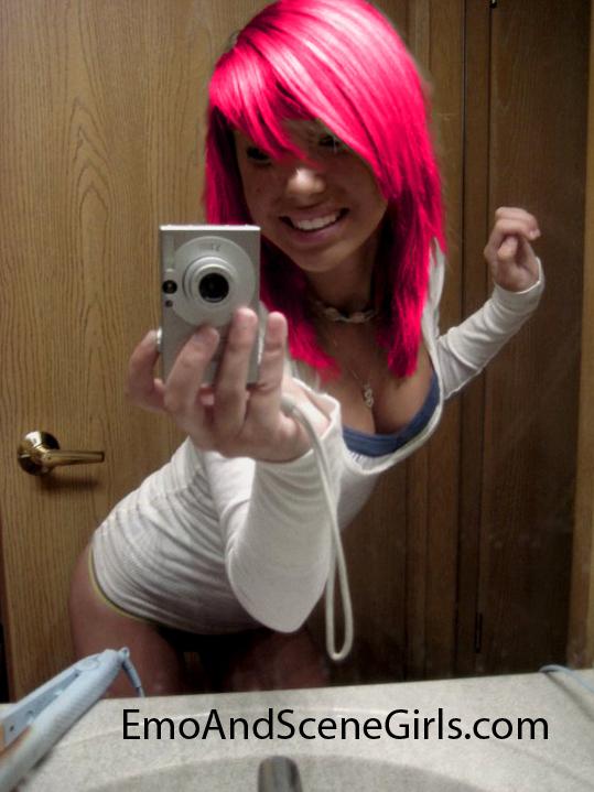 Pink Hair Emo Scene Girl